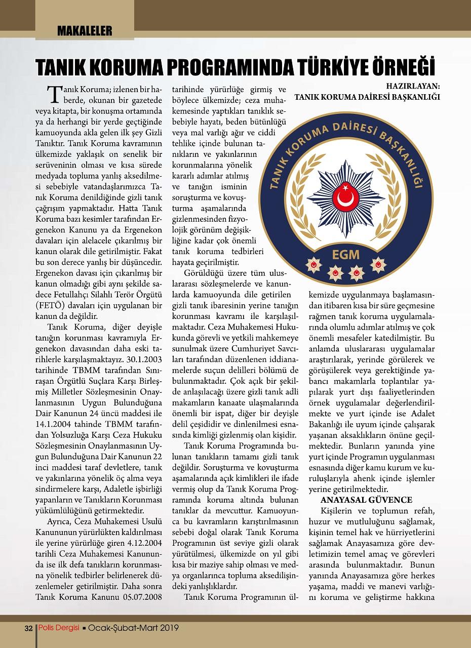 polis dergisi nde yayinlanan tanik koruma programinda turkiye ornegi konulu makalemiz